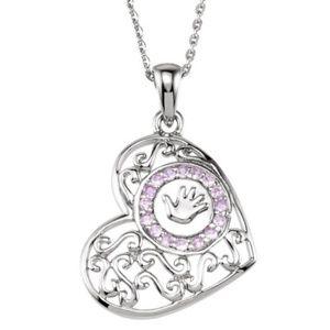 "Sterling Silver Handprints Girl 18"" Necklace"